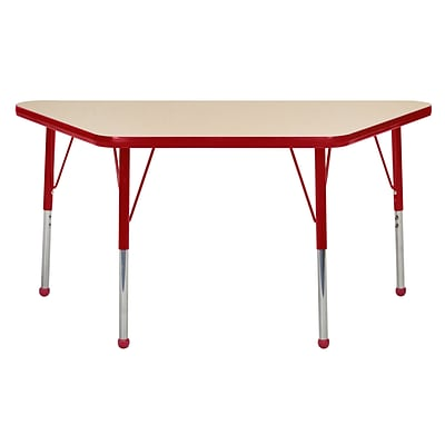 ECR4Kids 24 x 48 Trap Table Maple/Red -Toddler Ball Glide  (ELR-14126-MRD-TB)