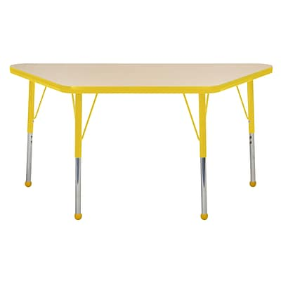 "24""x48"" Trapezoid T-Mold Activity Table, Maple/Yellow/Toddler Ball"