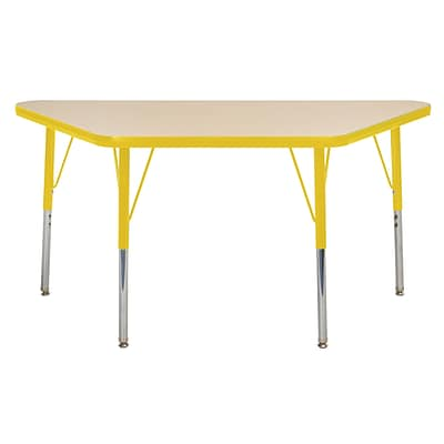 "24""x48"" Trapezoid T-Mold Activity Table, Maple/Yellow/Standard Swivel"