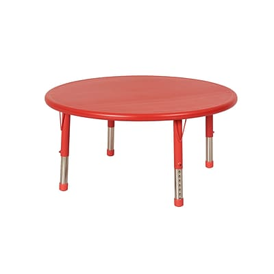 ECR4Kids 45 Round Resin Adjustable Activity Table, Red (ELR-14406-RD)