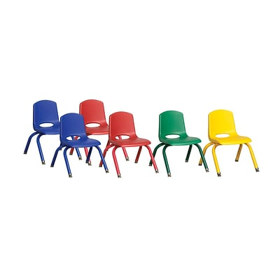ECR4Kids 10 Stack Chair-Matching Legs - Assorted, 6-PK (ELR-15140-ASG)