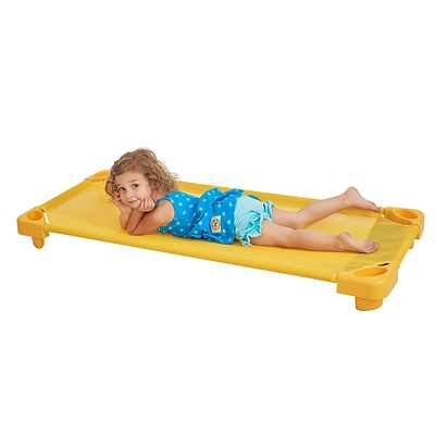ECR4Kids Standard Stackable Kiddie Cot, Single - Yellow (ELR-16125-YE)