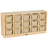 ECR4Kids Birch 15 Cubby Tray Cabinet with Sand Colored Bins (ELR-17209-SD)