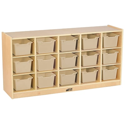 ECR4Kids Birch 15 Cubby Tray Cabinet With Sand Colored Bins (ELR 17209 SD