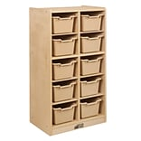 ECR4Kids Birch 10 Cubby Tray Cabinet with Sand Colored Bins (ELR-17215-SD)