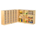 ECR4Kids Fold and Lock 25 Tray Cabinet with 36 Storage- CL (ELR-17218-CL)