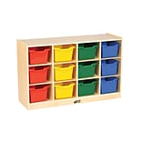 ECR4Kids Birch 12 Cubby Tray Cabinet with Assorted Bins (ELR-17252-AS)