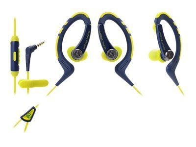 Audio Technica(r) ATH SPORT1iS SonicSport(r) In ear Headphone for Smartphone; Navy/Yellow