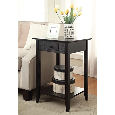 Convenience Concepts Inc. American Heritage End Table w/Drawer and Shelf Black Finish (7103049-BL)