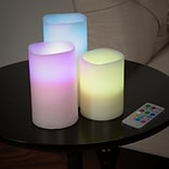 Lavish Home 3 Piece LED Color Changing Flameless Candle Set w/ Remote (72-0030C)