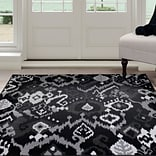 Lavish Home Ikat Area Rug 8x10 - Black & Grey (62-06-810)