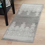 Lavish Home Royal Garden Area Rug - Grey & White - 18x5 (62-2024A-44-187)
