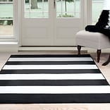 Lavish Home Breton Stripe Area Rug 8x10 - Black & White (62-2040A-25-810)