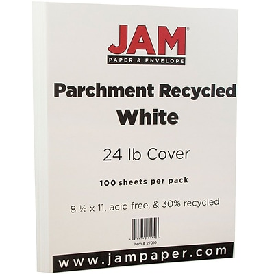JAM Paper® Parchment Paper - 8.5 x 11 - 24 lb. White Recycled- 100/pack