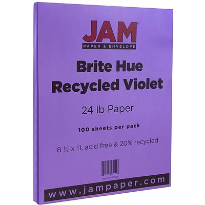 JAM Paper® Bright Color Paper - 8.5 x 11 - 24 lb. Brite Hue Violet Recycled - 100/pack