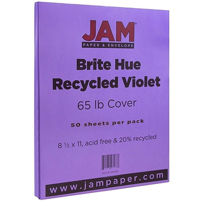 JAM Paper® Bright Color Cardstock, 8.5 x 11, 65lb Violet Purple Recycled, 50/pack (102426)