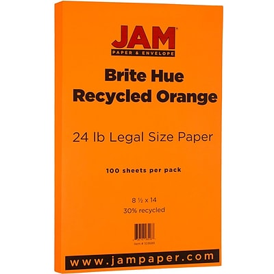 JAM Paper® Legal Colored 24lb Paper, 8.5 x 14, Orange Recycled, 100 Sheets/Pack (103689)
