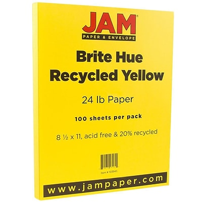 JAM Paper® Bright Color Paper - 8.5 x 11 - 24 lb. Brite Hue Yellow Recycled - 100/pack