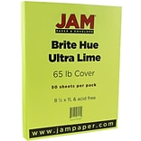 JAM Paper® Bright Color Cardstock, 8.5 x 11, 65lb Ultra Lime Green, 50/pack (104067)