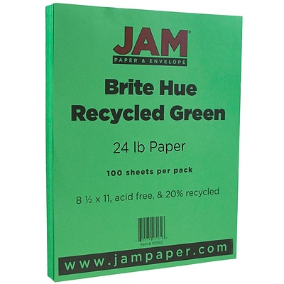JAM Paper® Bright Color Paper - 8.5 x 11 - 24 lb. Brite Hue Green Recycled - 100/pack
