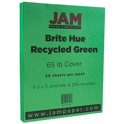 JAM Paper® Bright Color Cardstock, 8.5 x 11, 65lb Green Recycled, 50/pack (104190)