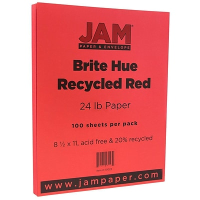 JAM Paper® Bright Color Paper - 8.5 x 11 - 24 lb. Brite Hue Red Recycled - 100/pack
