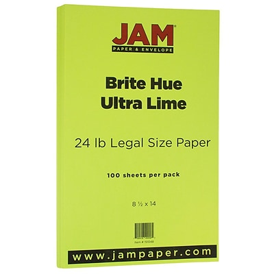 JAM Paper® Recycled Legal Paper - 8.5 x 14 - 24 lb. Brite Hue Ultra Lime Green - 100/pack