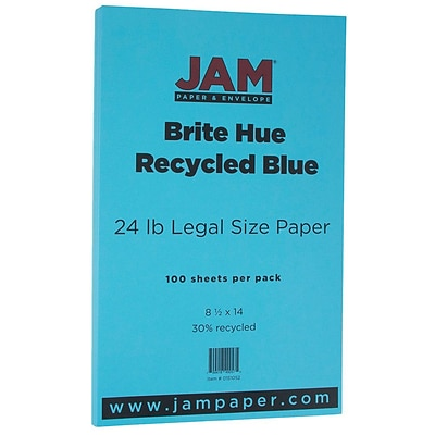 JAM Paper® Recycled Legal Paper - 8.5 x 14 - 24 lb. Brite Hue Blue - 100/pack