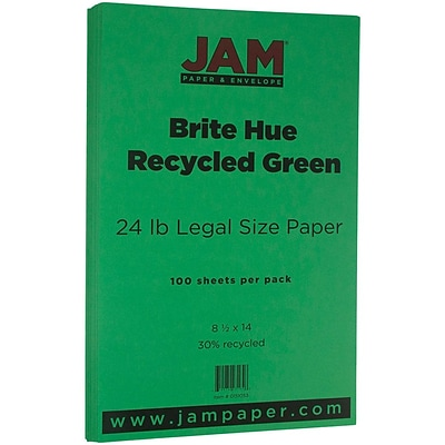 JAM Paper® Recycled Legal Paper - 8.5 x 14 - 24 lb. Brite Hue Green - 100/pack
