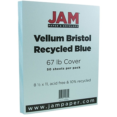 JAM Paper® Vellum Bristol 67lb Colored Cardstock, 8.5 x 11 Coverstock, Blue, 50 Sheets/Pack (169820)