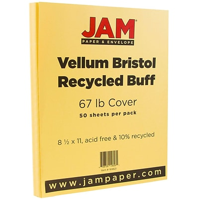 JAM Paper® Vellum Bristol 67lb Colored Cardstock, 8.5 x 11 Coverstock, Buff Light Orange, 50 Sheets/Pack (169821)