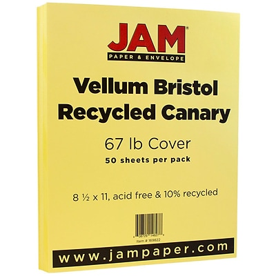JAM Paper® Vellum Bristol 67lb Colored Cardstock, 8.5 x 11 Coverstock, Canary Yellow, 50 Sheets/Pack (169822)