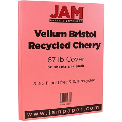 JAM Paper® Vellum Bristol 67lb Colored Cardstock, 8.5 x 11 Coverstock, Cherry Red, 50 Sheets/Pack (169823)