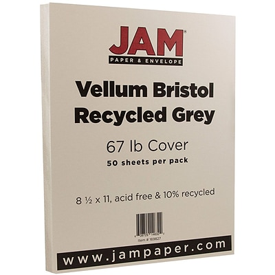 JAM Paper® Vellum Bristol 67lb Colored Cardstock, 8.5 x 11 Coverstock, Grey, 50 Sheets/Pack (169827)