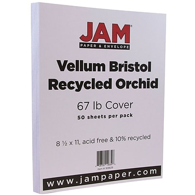 JAM Paper® Vellum Bristol 67lb Colored Cardstock, 8.5 x 11 Coverstock, Orchid Purple, 50 Sheets/Pack (169829)