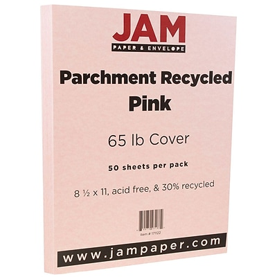 JAM Paper® Parchment Cardstock, 8.5 x 11, 65lb Pink Recycled, 50/pack (171122)