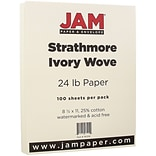 JAM Paper® Strathmore Paper - 8.5 x 11 - 24lb Ivory Wove - 100/pack