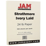 JAM Paper® Strathmore Paper - 8.5 x 11 - 24lb Ivory Laid - 100/pack