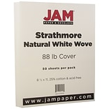 JAM Paper® Strathmore Cardstock, 8.5 x 11, 80lb Natural White Wove, 50/pack (301115)