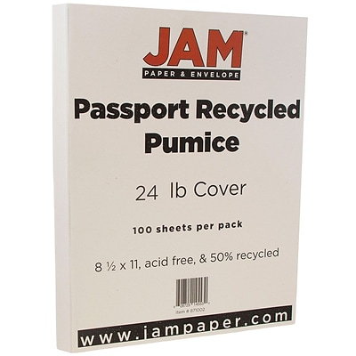 JAM Paper® Recycled Paper - 8.5 x 11 - 24 lb. Pumice Passport - 100/pack