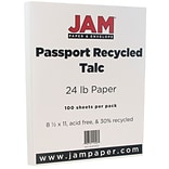 JAM Paper® Recycled Paper - 8.5 x 11 - 24 lb. Talc Passport - 100/pack