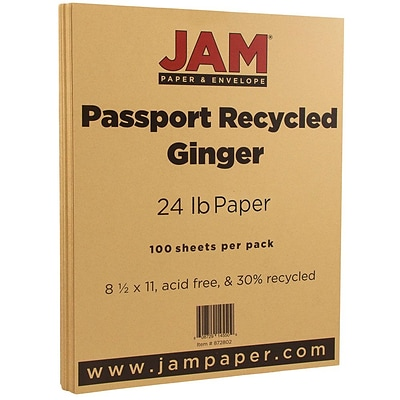 JAM Paper® Recycled 24lb Paper, 8.5 x 11, Passport Ginger Brown, 100 Sheets/Pack (872802)