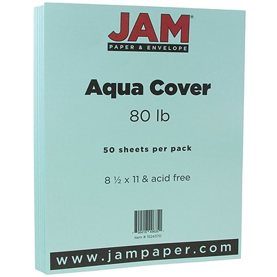 JAM Paper® Matte 80lb Colored Cardstock, 8.5 x 11 Coverstock, Aqua Blue, 50 Sheets/Pack (1524370)