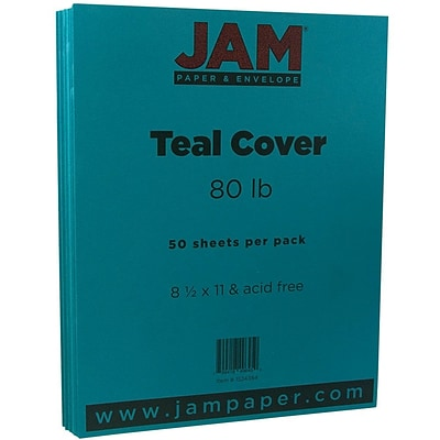 JAM Paper® Matte 80lb Colored Cardstock, 8.5 x 11 Coverstock, Teal, 50 Sheets/Pack (1524384)