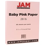 JAM Paper® Matte Paper - 8.5 x 11 - 28 lb. Baby Pink - 50/pack