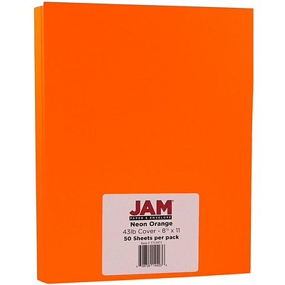 JAM Paper® Neon Cardstock, 8.5 x 11, 43lb Fluorescent Orange, 50/pack (5733973)