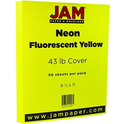 JAM Paper® Neon 43lb Cardstock, 8.5 x 11 Coverstock, Yellow Neon Fluorescent, 50 Sheets/Pack (5733977)