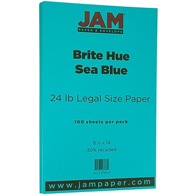 JAM Paper® Recycled Legal Paper - 8.5 x 14 - 24 lb. Brite Hue Sea Blue - 100/pack