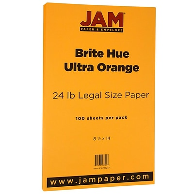 JAM Paper® Recycled Legal Paper - 8.5 x 14 - 24 lb. Brite Hue Ultra Orange - 100/pack