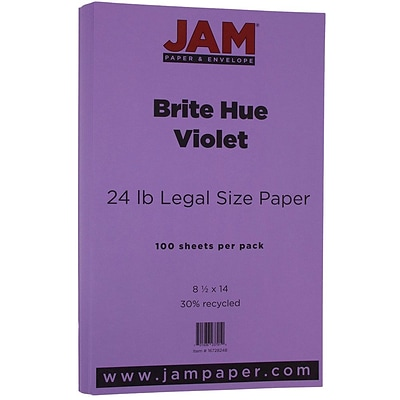 JAM Paper® Recycled Legal Paper - 8.5 x 14 - 24 lb. Brite Hue Violet Purple - 100/pack